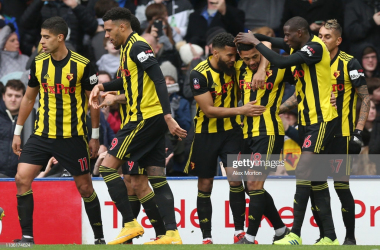 Gray celebrates with his teammates after scoring the winner against Palace at Vicarage Road (Photo Source: Alex Morton / Getty Images)