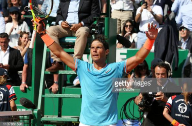 Nadal celebrates his victory over Grigor Dimitrov (Jean Catuffe/Getty Images)