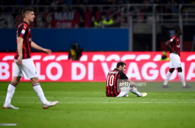 A disappointed Milan team during a match last season vs Bologna FC (Getty Images/ Nicolo Campo)