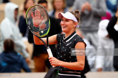 Vondrousova celebrates reaching her first Grand Slam final (Getty Images/Clive Brunskill)<div><br></div>