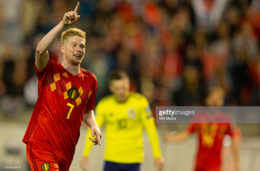 De Bruyne celebrates scoring vs Scotland earlier in the group stage (Photo by Frank Abbeloos/Isosport/MB Media/Getty Images)