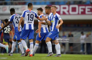 STEGERSBACH, AUSTRIA - JULY 25: Vedad Ibisevic and Maximilian Mittelstaedt of Hertha BSC celebrate after scoring the 2:0 during the match between Hertha BSC and Fenerbahce Istanbul on July 25, 2019 at the Profertil Arena Hartberg in Stegersbach, Austria. (Photo by Jan-Philipp Burmann/City-Press via Getty Images)