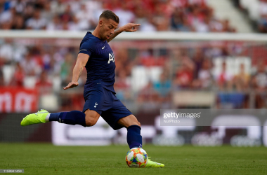 Toby Alderweireld of Tottenham does passed during the Audi cup 2019 semi final match between Real Madrid and Tottenham Hotspur at Allianz Arena on July 30, 2019 in Munich, Germany. (Photo by Jose Breton/NurPhoto via Getty Images)