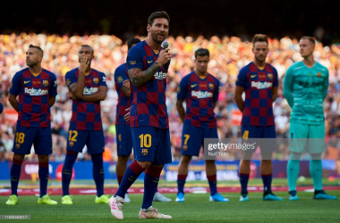 Lionel Messi of Barcelona talking to his fans during the Joan Gamper Trophy match between FC Barcelona and Arsenal at Nou Camp on August 4, 2019, in Barcelona, Spain. (Photo by Jose Breton/NurPhoto via Getty Images)