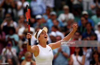 Svitolina exults after winning her quarterfinal match/Photo: Clive Brunskill/Getty images