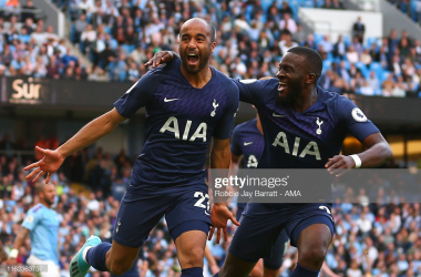 <div>MANCHESTER, ENGLAND - AUGUST 17: Lucas Moura of Tottenham Hotspur celebrates after scoring a goal to make it 2-2 during the Premier League match between Manchester City and Tottenham Hotspur at Etihad Stadium on August 17, 2019 in Manchester, United Kingdom. (Photo by Robbie Jay Barratt - AMA/Getty Images)</div><div><br></div>