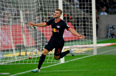 Timo Werner wheels off to celebrate (Photo: Getty Images: Ina Fassbender)