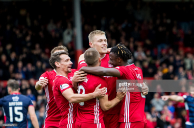 Cosgrove netting his 10th of the season for Aberdeen/ (GettyImages/Scott Baxter)