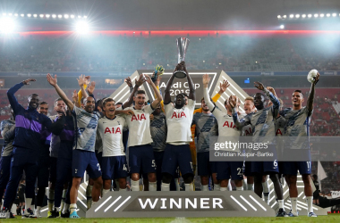 MUNICH, GERMANY - JULY 31: Players of Tottenham Hotspur lift the trophy after winning the Audi cup 2019 final match between Tottenham Hotspur and Bayern Muenchen at Allianz Arena on July 31, 2019 in Munich, Germany. (Photo by Christian Kaspar-Bartke/Getty Images for AUDI)