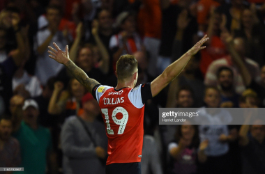 LUTON, ENGLAND - AUGUST 02: James Collins of Luton Town celebrates after scoring his team's third goal during the Sky Bet Championship match between Luton Town and Middlesbrough at Kenilworth Road on August 02, 2019 in Luton, England. (Photo by Harriet Lander/Getty Images)