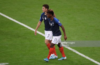 Kingsley Coman and Benjamin Pavard celebrate together after a goal was scored by Coman (Getty Images/Xaxier Laine)