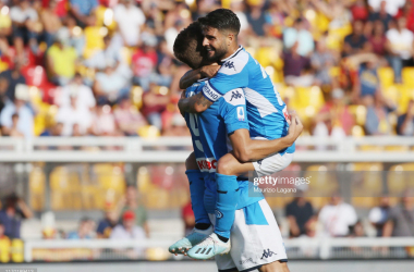 Napoli's captain Lorenzo Insigne and striker Fernando Llorente celebrate after Llorente scored his second goal of the match against Lecce (Getty Images/Maurizio Lagana)