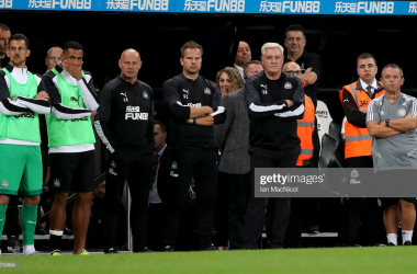 NEWCASTLE UPON TYNE, ENGLAND - AUGUST 28: Steve Bruce, Manager of Newcastle United reacts to the penalty shootout during the Carabao Cup Second Round match between Newcastle United and Leicester City at St James' Park on August 28, 2019 in Newcastle upon Tyne, England. (Photo by Ian MacNicol/Getty Images)