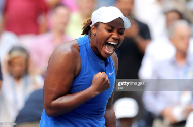 Townsend celebrates her career-defining win/Photo: Elsa/Getty Images