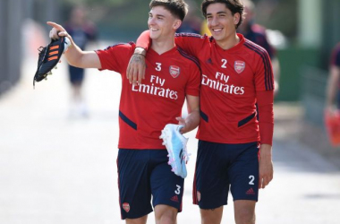 Kieran Tierney and Héctor Bellerín arrive for Arsenal training. Picture: Getty Images.