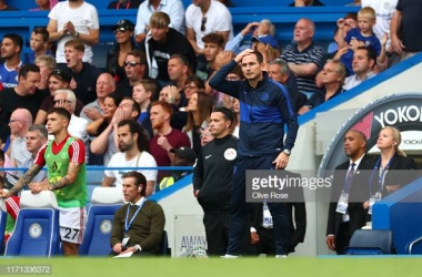 Frank Lampard in the Stamford Bridge dug-out (Photo credit: Clive Rose / Getty Images)
