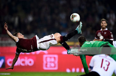 Torino's Andrea Belotti's game-winning bicycle kick goal, and his second goal of the match against AC Milan (Getty Images/Nicolo Campo)
