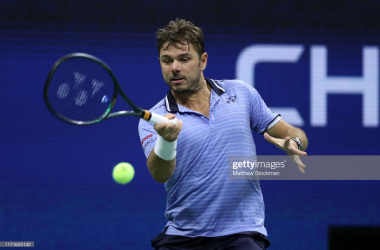 Wawrinka plays a forehand during his victory over Djokovic/Photo: Matthew Stockman/Getty Images via Zimbio