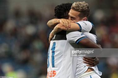 Atalanta teammates Duvan Zapata and Papu Gomez celebrate Gomez's goal against Sassuolo last weekend (Getty Images/Emilio Andreoli)