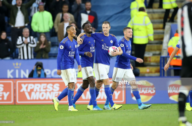 Leicester City players celebrate scoring their fifth goal in their win over Newcastle United (Photo by Plumb Images/Getty Images)