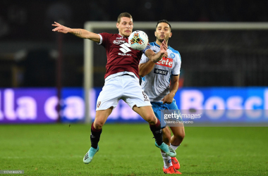Torino captain Andrea Belotti fights off Napoli defender Kostas Manolas in their last Serie A match that ended 0-0 (Getty Images/Valerio Pennicino)