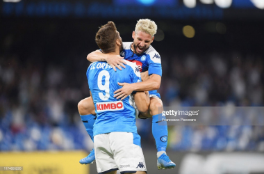 Napoli forward Dries Mertens celebrates scoring a goal against Liverpool during their midweek Champions League clash (Getty Images/Francesco Pecoraro)