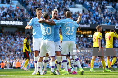 The City players celebrate after Nicolas Otamendi's goal(Photo by Alex Livesey/Getty Images)