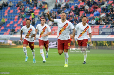 Aleksandar Kolorv celebrates his free-kick goal for A.S Roma against Bologna F.C(Photo by Mario Carlini / Iguana Press/Getty Images)