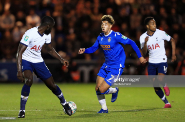 <div>COLCHESTER, ENGLAND - SEPTEMBER 24: Davinson Sanchez of Tottenham Hotspur challenges for the ball with Courtney Senior of Colchester United during the Carabao Cup Third Round match between Colchester United and Tottenham Hotspur at JobServe Community Stadium on September 24, 2019 in Colchester, England. (Photo by Stephen Pond/Getty Images)</div><div><br></div>