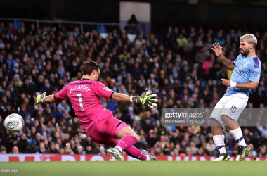 Sergio Aguero slots past Alex McCarthy for his second goal.  (Photo by Manchester City FC/Manchester City FC via Getty Images)
