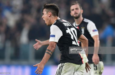 Juventus' Paulo Dybala celebrates his equalizing goal against FC Lokomotiv Moscow in the midweek Champions League clash (Getty Images/Miguel Medina)