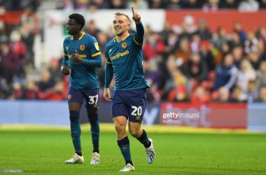 Jarrod Bowen (20) of Hull City celebrates after scoring a goal.(Photo by Jon Hobley/MI News/NurPhoto via Getty Images)