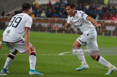 Cagliari's Christian Oliva celebrates his goal against Atalanta last weekend with teammate Giovanni Simeone (Getty Images/Emilio Andreoli)