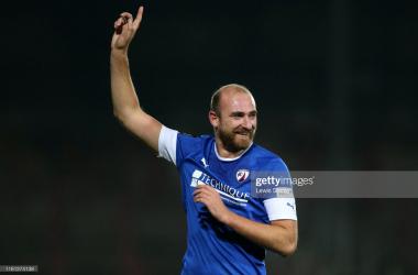 Above: Chesterfield striker Tom Denton celebrates scoring against Wrexham (Source: Lewis Storey, Getty Images)