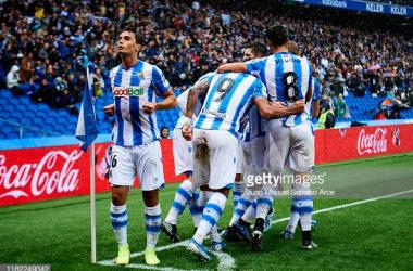 Real Sociedad celebrate taking the lead (Gettyimages/Juan Manuel Serrano Arce)