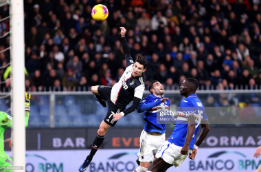 Cristiano Ronaldo scores a phenomenal header against Sampdoria in Juventus' last Serie A match (Getty Images/Marco Canoniero)