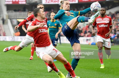 MIDDLESBROUGH, ENGLAND - NOVEMBER 24: Jackson Irvine of Hull City battles for possession with Jonny Howson of Middlesbrough during the Sky Bet Championship match between Middlesbrough and Hull City at Riverside Stadium on November 24, 2019 in Middlesbrough, England. (Photo by George Wood/Getty Images)