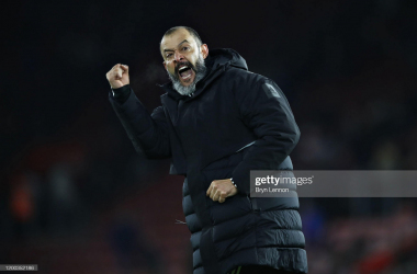 Nuno performs his trademark celebration in front of Wolves' travelling fans after a 3-2 win over Southampton in January 2020. (Photo by Bryn Lennon/Getty Images)