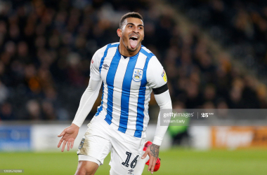 Karlan Grant of Huddersfield Town celebrates his goal during the Sky Bet Championship match between Hull City and Huddersfield Town at KCOM Stadium on January 28, 2020 in Hull, England. (Photo by William Early/Getty Images)