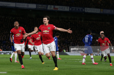 LONDON, ENGLAND - FEBRUARY 17: Harry Maguire of Manchester United celebrates scoring their second goal during the Premier League match between Chelsea FC and Manchester United at Stamford Bridge on February 17, 2020 in London, United Kingdom. (Photo by Matthew Peters/Manchester United via Getty Images)