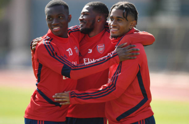 PIRAEUS, GREECE - FEBRUARY 20: (L-R) Eddie Nketiah, Ainsley Maitland-Niles and Reiss Nelson of Arsenal during a training session before the UEFA Europa League round of 32 first leg match between Olympiacos FC and Arsenal FC at Vouliagmeni on February 20, 2020, Greece. (Photo by Stuart MacFarlane/Arsenal FC via Getty Images)