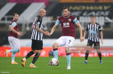Chris Wood will hope to be firing when Burnley face Newcastle on Monday. (Photo by Matthew Ashton/Getty Images)