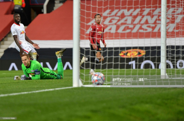 <div>Manchester United v RB Leipzig: Group H - UEFA Champions League</div><div>MANCHESTER, ENGLAND - OCTOBER 28: (BILD ZEITUNG OUT) Mason Greenwood of Manchester United scores his team's first goal during the UEFA Champions League Group H stage match between Manchester United and RB Leipzig at Old Trafford on October 28, 2020 in Manchester, United Kingdom. Sporting stadiums around the UK remain under strict restrictions due to the Coronavirus Pandemic as Government social distancing laws prohibit fans inside venues resulting in games being played behind closed doors. (Photo by Vincent Mignott/DeFodi Images via Getty Images)</div>