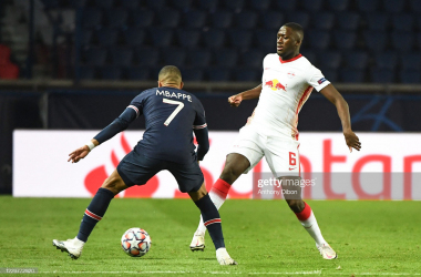 Ibrahima KONATE of Leipzig and Kylian MBAPPE of PSG during the UEFA Champions League match between Paris Saint Germain and RB Leizpig at Parc des Princes on November 24, 2020 in Paris, France. (Photo by Anthony Dibon/Icon Sport via Getty Images)