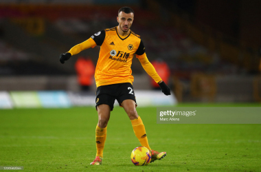 WOLVERHAMPTON, ENGLAND - JANUARY 12: Romain Saiss of Wolverhampton Wanderers during the Premier League match between Wolverhampton Wanderers and Everton at Molineux on January 12, 2021 in Wolverhampton, United Kingdom. Sporting stadiums around England remain under strict restrictions due to the Coronavirus Pandemic as Government social distancing laws prohibit fans inside venues resulting in games being played behind closed doors. (Photo by Marc Atkins/Getty Images)