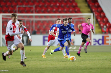PRAGUE, CZECH REPUBLIC - FEBRUARY 18: James Maddison of Leicester City during the UEFA Europa League Round of 32 match between Slavia Prague and Leicester City at Sinobo Stadium on February 18, 2021 in Prague, Czech Republic. (Photo by Plumb Images/Leicester City FC via Getty Images)