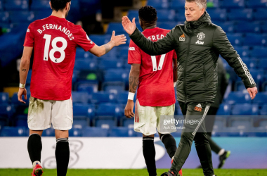 <div>LONDON, ENGLAND - FEBRUARY 28: Bruno Fernandes of Manchester United reacts with Manchester United Head Coach / Manager Ole Gunnar Solskjaer at the end of the Premier League match between Chelsea and Manchester United at Stamford Bridge on February 28, 2021 in London, United Kingdom. Sporting stadiums around the UK remain under strict restrictions due to the Coronavirus Pandemic as Government social distancing laws prohibit fans inside venues resulting in games being played behind closed doors. (Photo by Ash Donelon/Manchester United via Getty Images)</div><div><br></div>