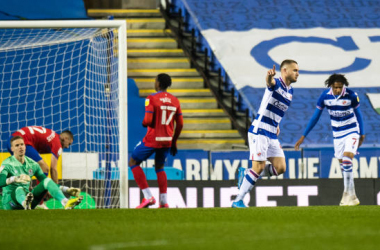 Reading's George Puscas (right) celebrates scoring his side's first goal during the Sky Bet Championship match between Reading and Blackburn Rovers at Madejski Stadium on March 2, 2021 in Reading, England. (Photo by David Horton - CameraSport via Getty Images)