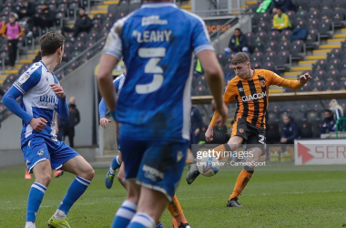 Hull City's Gavin Whyte scores his side's first goal in the 32nd minute during the Sky Bet League One match between Hull City and Bristol Rovers at KCOM Stadium on March 6, 2021 in Hull, England. (Photo by Lee Parker - CameraSport via Getty Images)