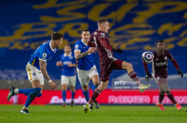 <div>BRIGHTON, ENGLAND - MARCH 06: Leicester City's Jamie Vardy (centre) during the Premier League match between Brighton & Hove Albion and Leicester City at American Express Community Stadium on March 6, 2021 in Brighton, United Kingdom. (Photo by David Horton - CameraSport via Getty Images)</div>